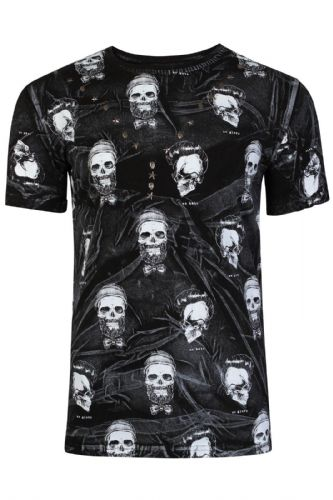 Mens Italian Designer Skull Diamonds Long T Shirt Top Slim Fit Crew Neck RRP £30 (1)